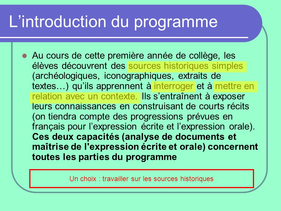 L'introduction du programme
