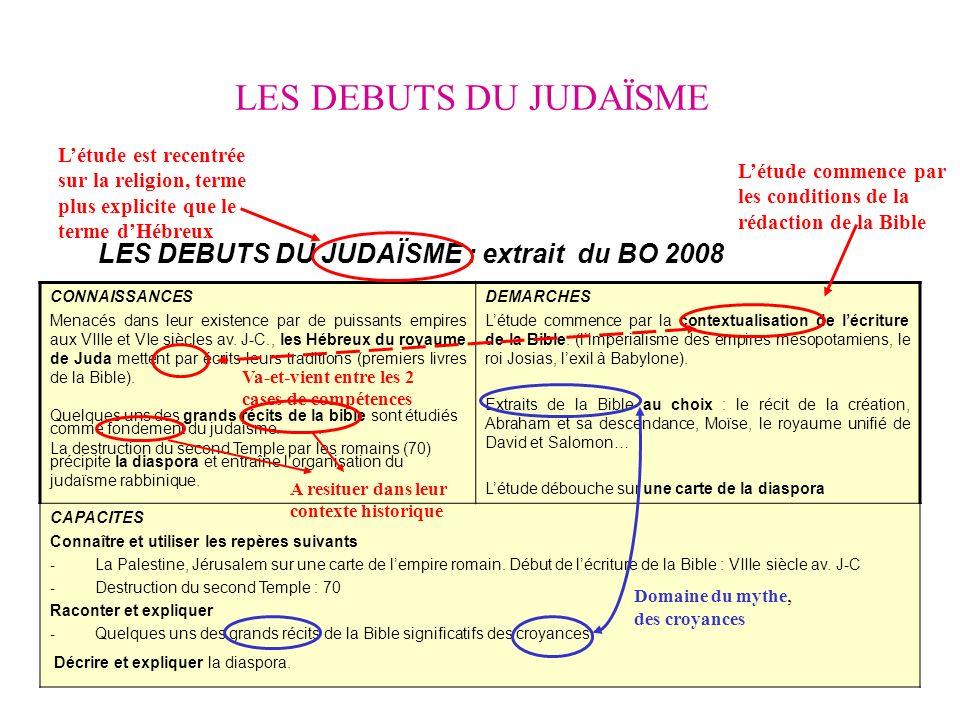 LES DEBUTS DU JUDAÏSME LES DEBUTS DU JUDAÏSME : extrait du BO 2008