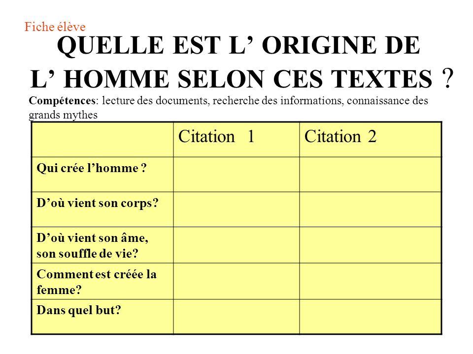 QUELLE EST L' ORIGINE DE L' HOMME SELON CES TEXTES