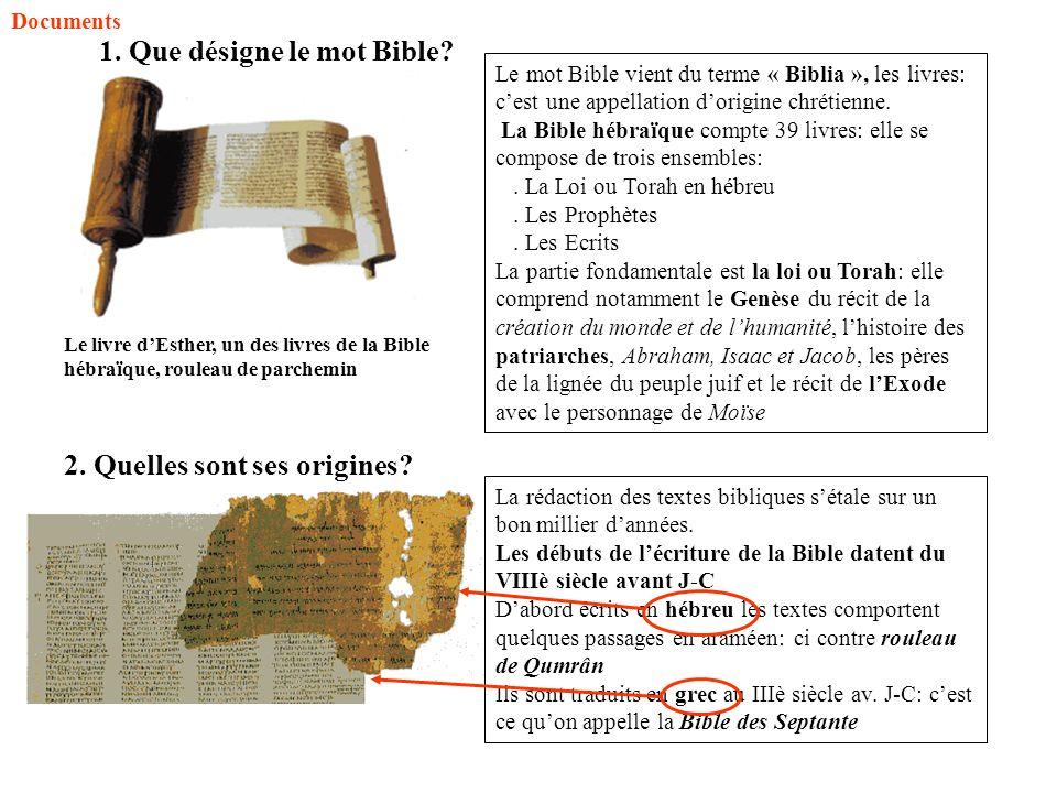 1. Que désigne le mot Bible