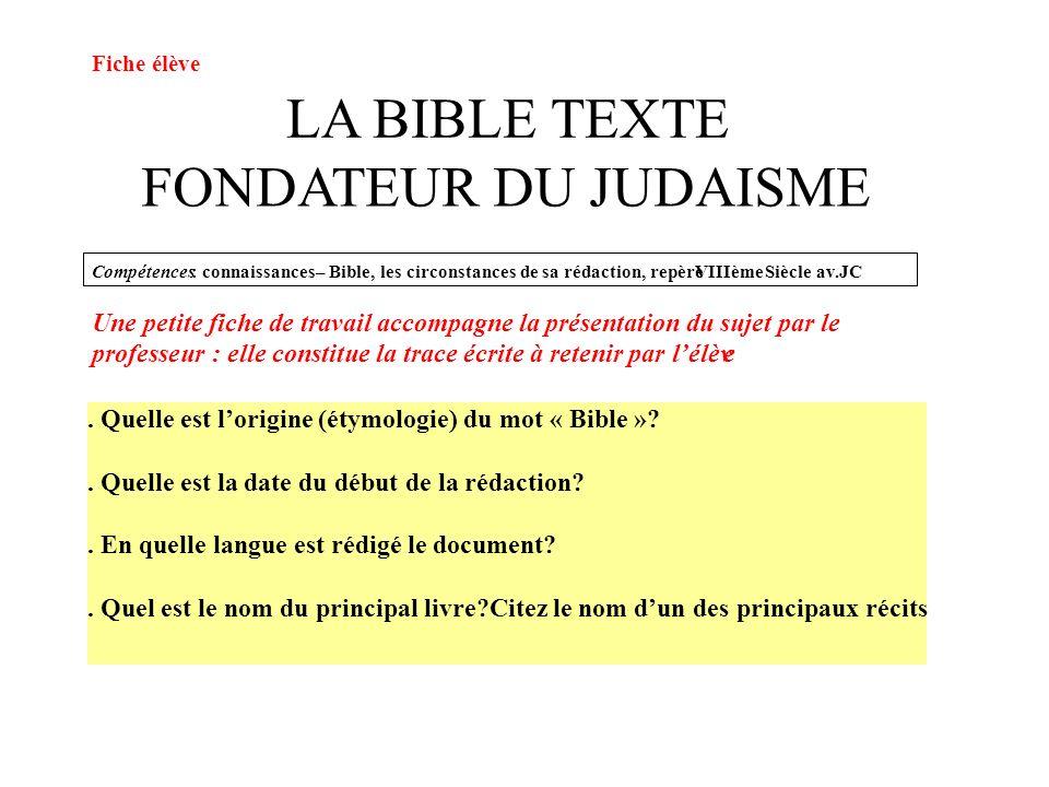 LA BIBLE TEXTE FONDATEUR DU JUDAISME