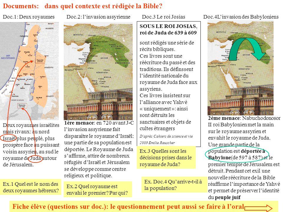 Documents: dans quel contexte est rédigée la Bible