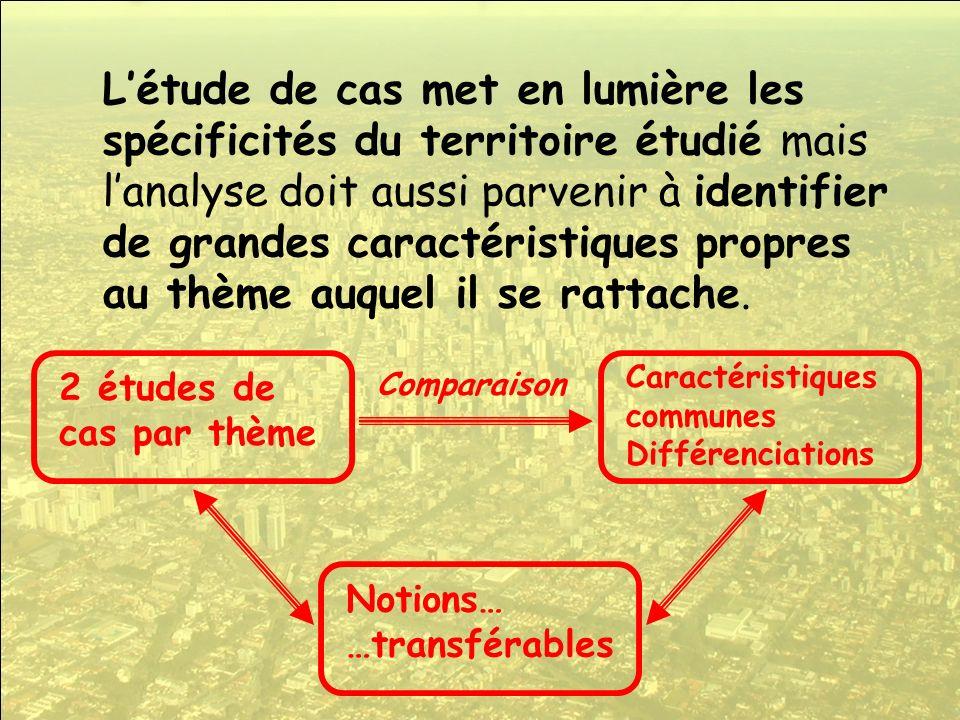 L'étude de cas met en lumière les spécificités du territoire étudié mais l'analyse doit aussi parvenir à identifier de grandes caractéristiques propres au thème auquel il se rattache.