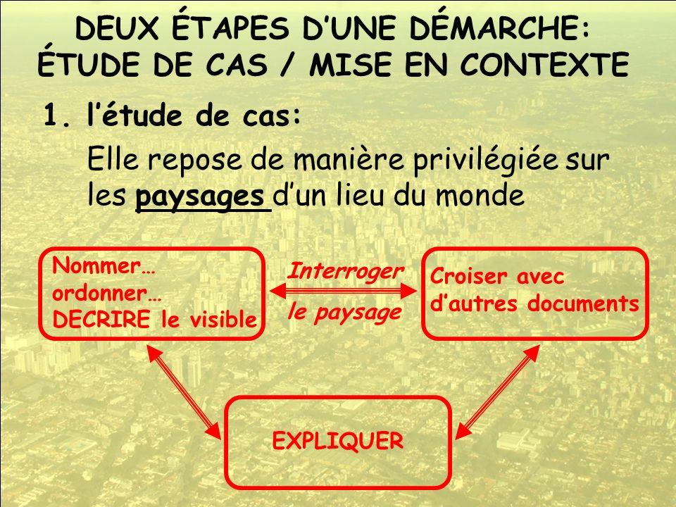 DEUX ÉTAPES D'UNE DÉMARCHE: ÉTUDE DE CAS / MISE EN CONTEXTE