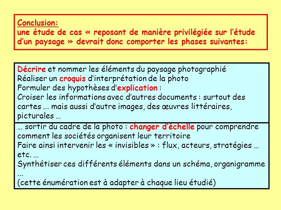Conclusion: une étude de cas « reposant de manière privilégiée sur l'étude d'un paysage » devrait donc comporter les phases suivantes: