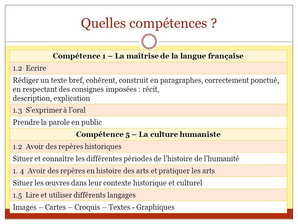 Quelles compétences Compétence 1 – La maîtrise de la langue française. 1.2 Ecrire.