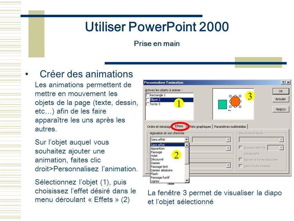 Utiliser PowerPoint 2000 Créer des animations 3 1 2 Prise en main