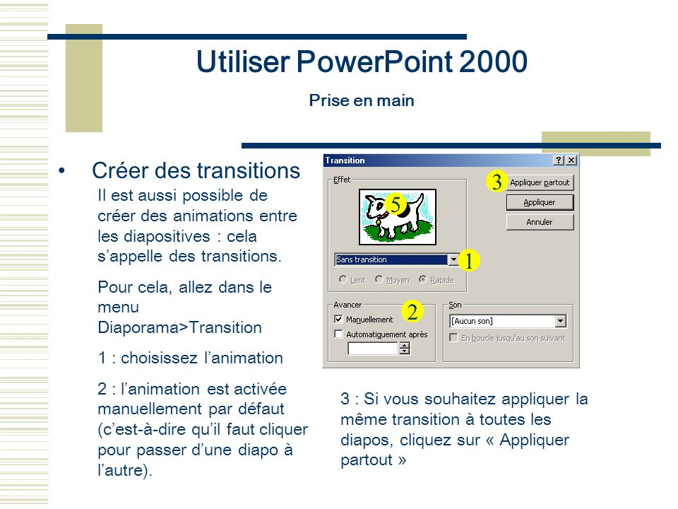 Utiliser PowerPoint 2000 Créer des transitions 3 5 1 2 Prise en main
