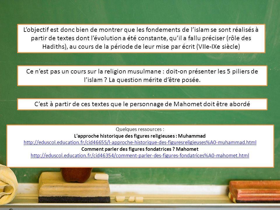 L'objectif est donc bien de montrer que les fondements de l'islam se sont réalisés à partir de textes dont l'évolution a été constante, qu'il a fallu préciser (rôle des Hadiths), au cours de la période de leur mise par écrit (VIIe-IXe siècle)