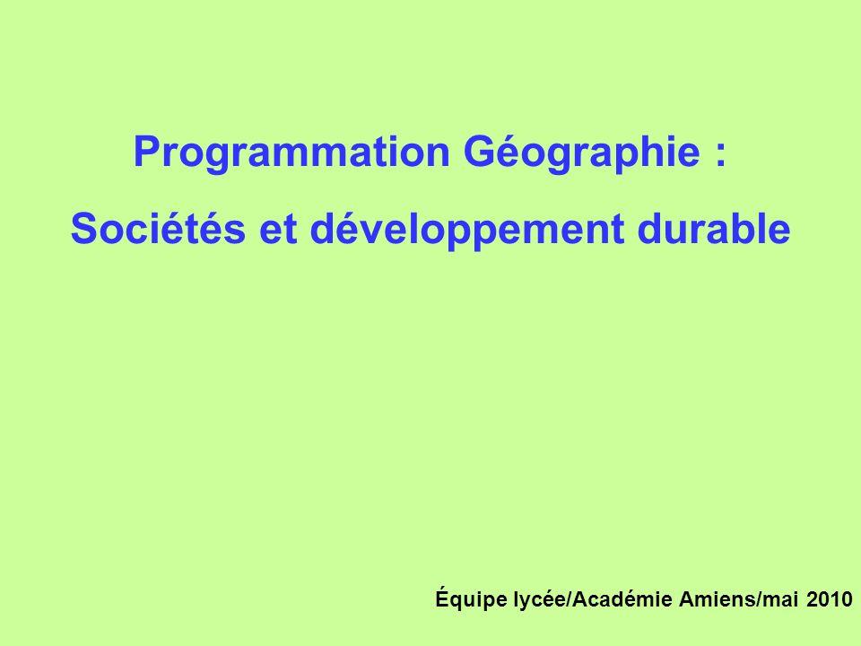 Programmation Géographie : Sociétés et développement durable