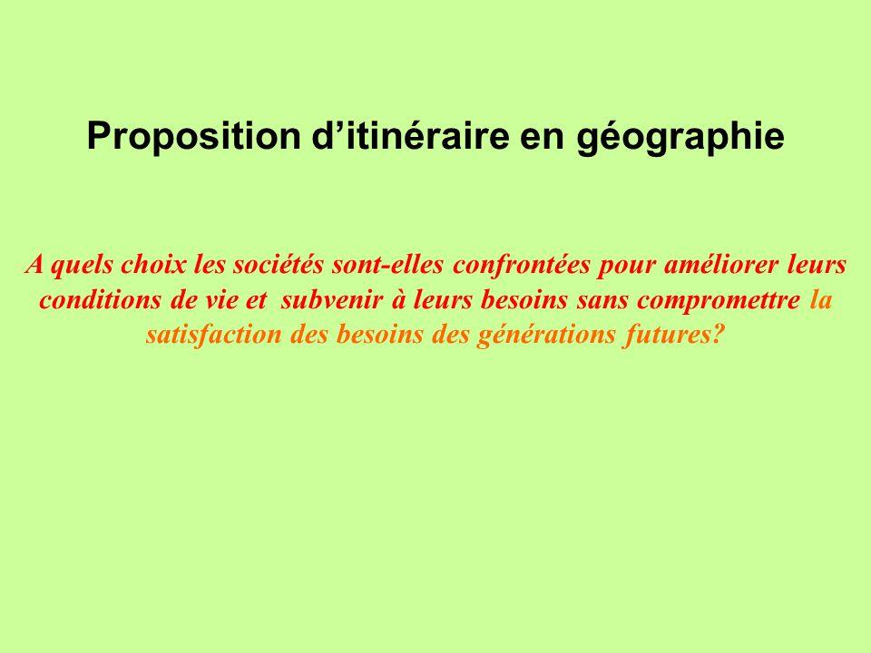 Proposition d'itinéraire en géographie