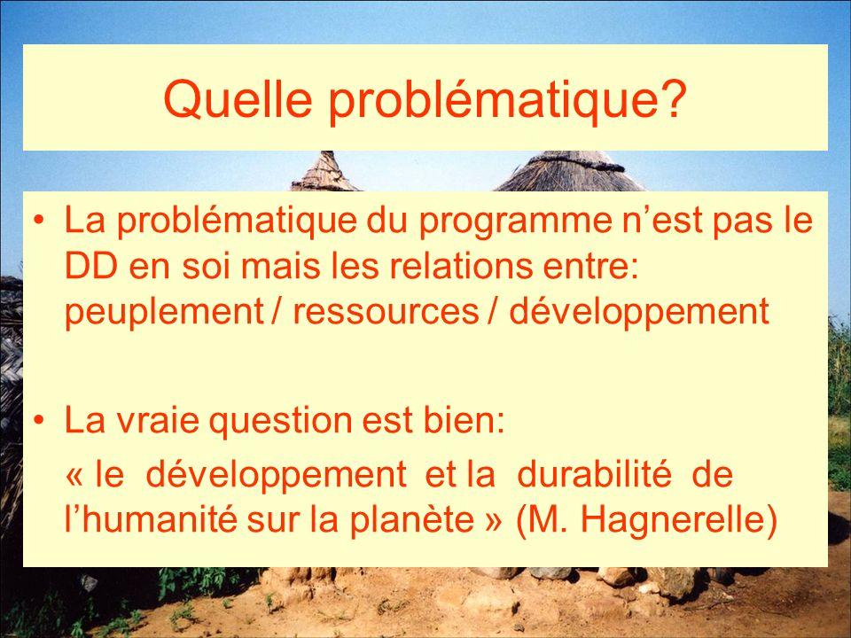 Quelle problématique La problématique du programme n'est pas le DD en soi mais les relations entre: peuplement / ressources / développement.