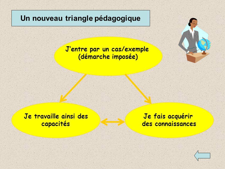 Un nouveau triangle pédagogique J'entre par un cas/exemple