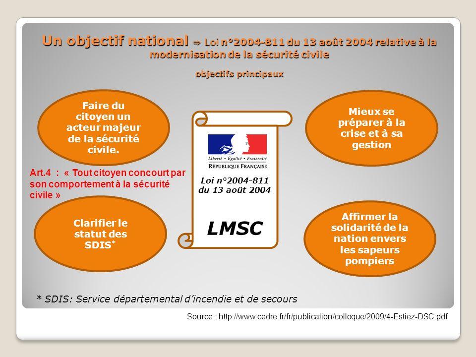 Un objectif national ⇒ Loi n°2004-811 du 13 août 2004 relative à la modernisation de la sécurité civile objectifs principaux