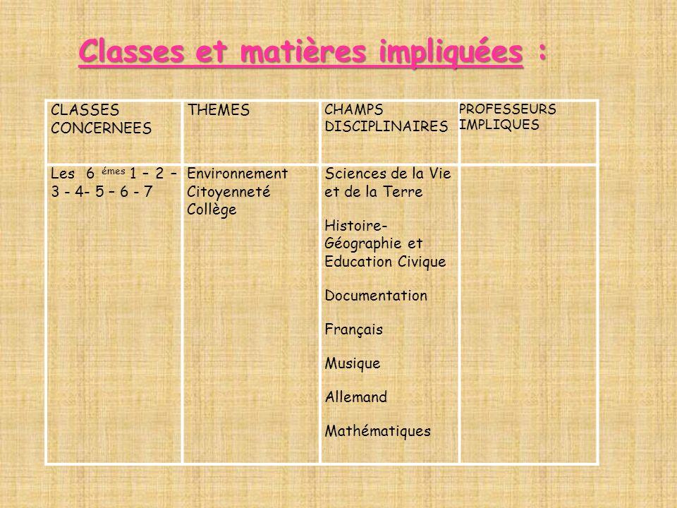 Classes et matières impliquées :