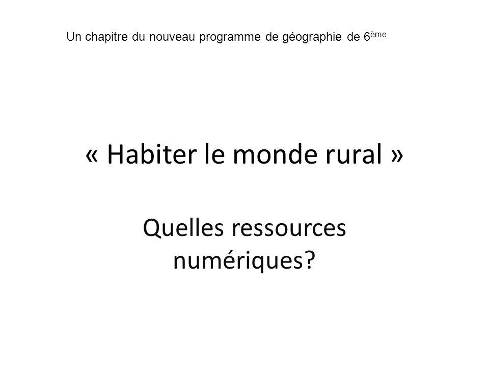 « Habiter le monde rural »
