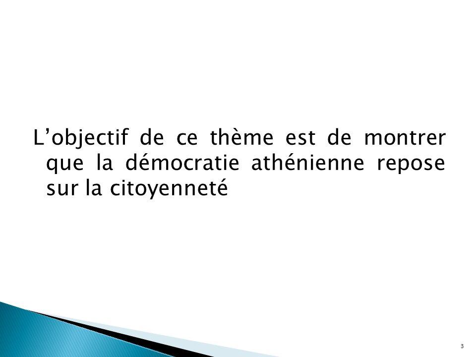 L'objectif de ce thème est de montrer que la démocratie athénienne repose sur la citoyenneté