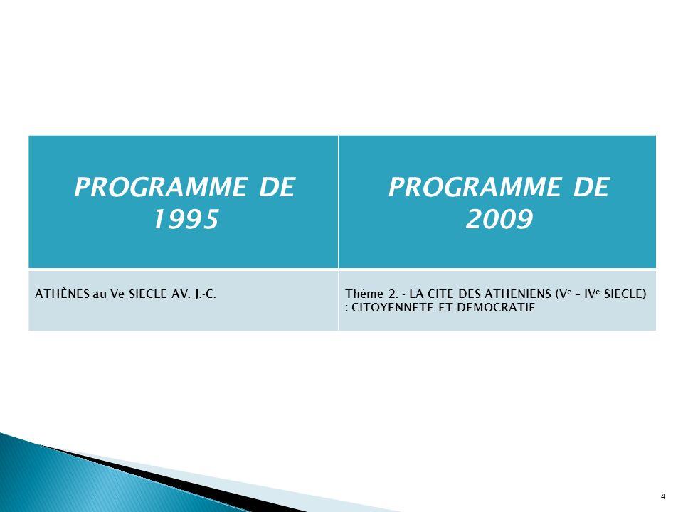 PROGRAMME DE 1995 PROGRAMME DE 2009