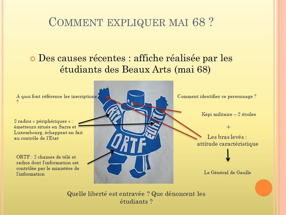 Comment expliquer mai 68 Des causes récentes : affiche réalisée par les étudiants des Beaux Arts (mai 68)