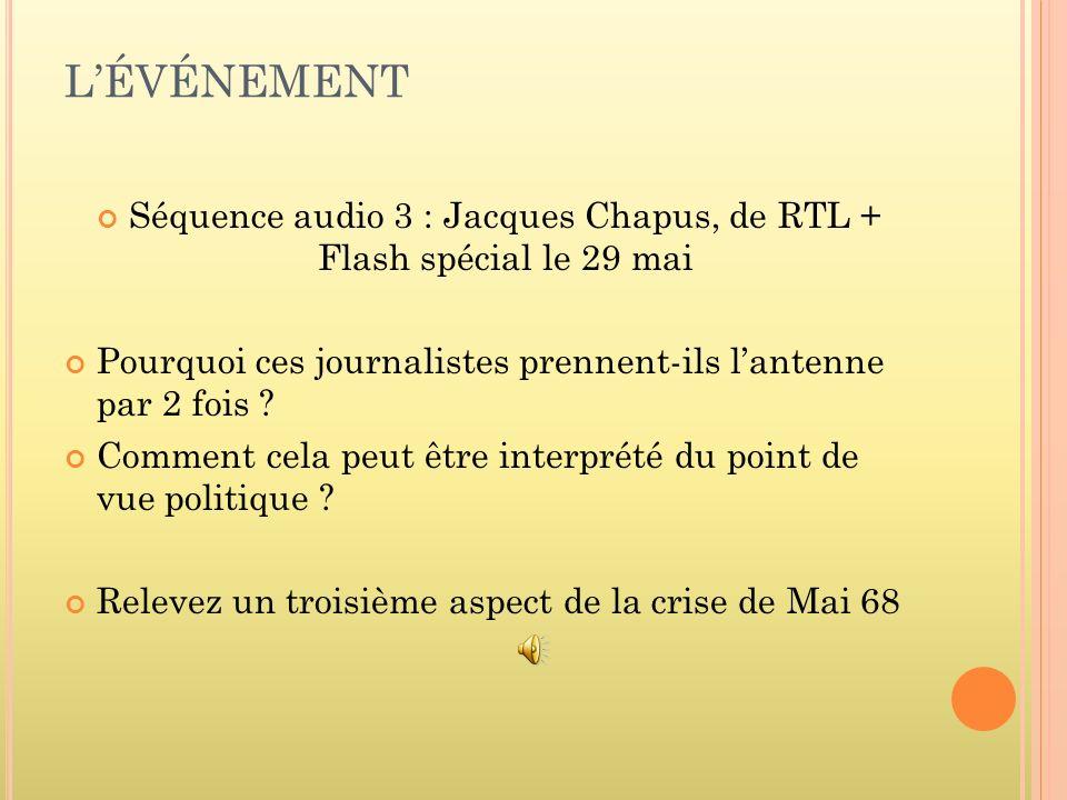 Séquence audio 3 : Jacques Chapus, de RTL + Flash spécial le 29 mai