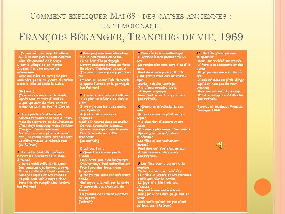 Comment expliquer Mai 68 : des causes anciennes : un témoignage, François Béranger, Tranches de vie, 1969
