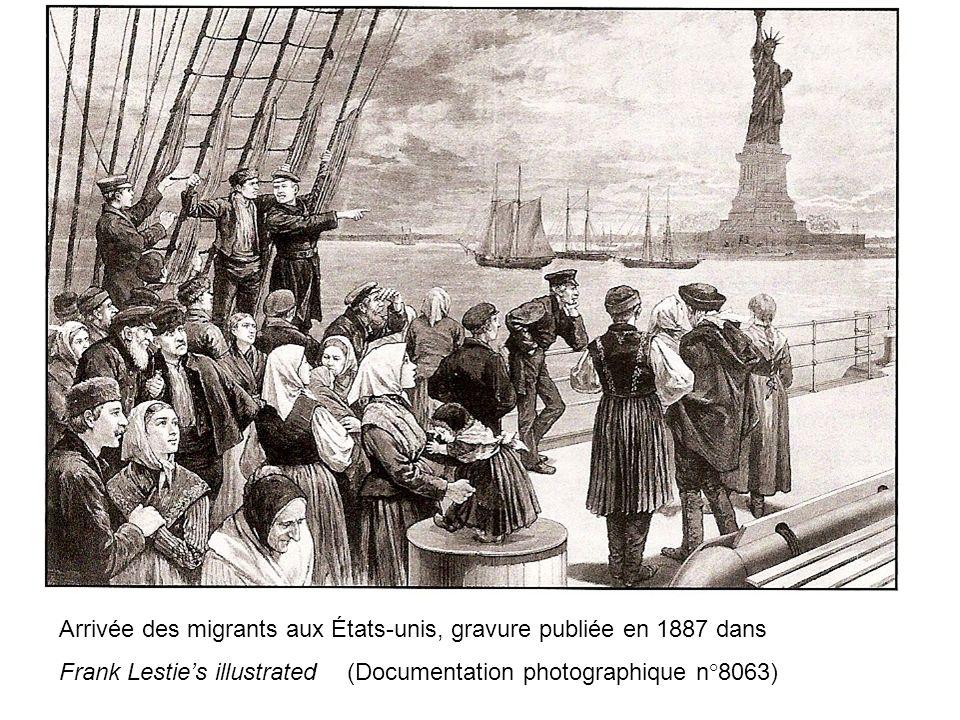 Arrivée des migrants aux États-unis, gravure publiée en 1887 dans