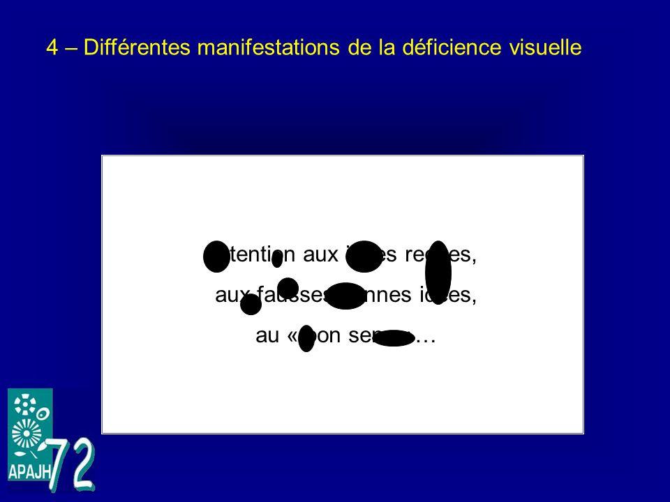 4 – Différentes manifestations de la déficience visuelle