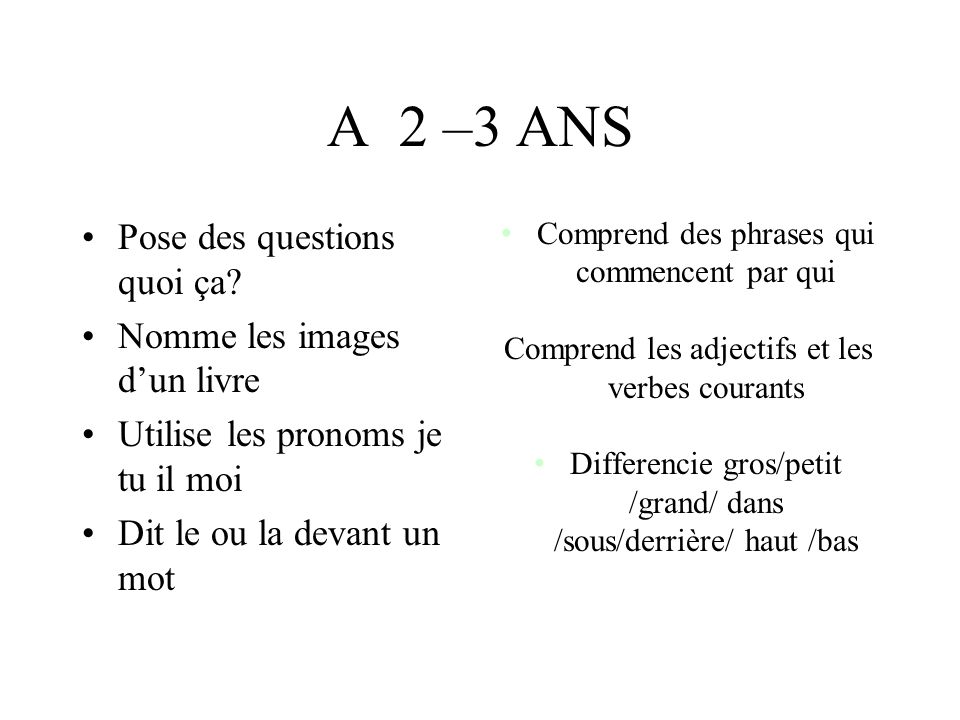 A 2 –3 ANS Pose des questions quoi ça Nomme les images d'un livre