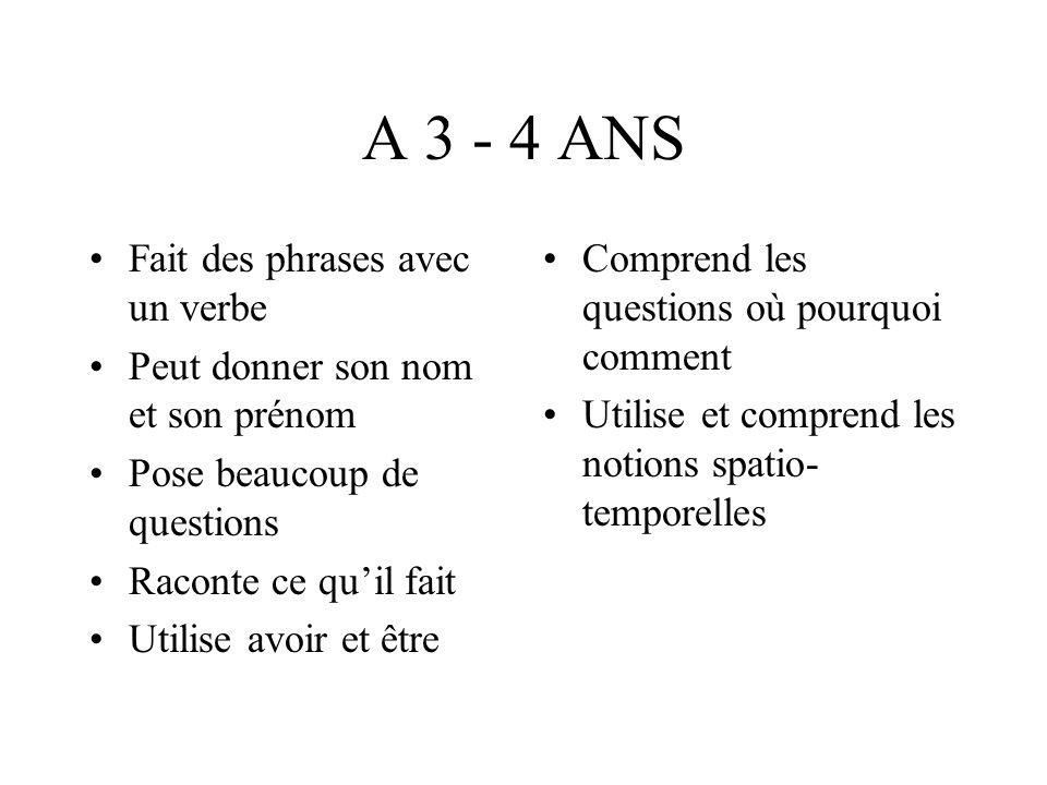 A 3 - 4 ANS Fait des phrases avec un verbe