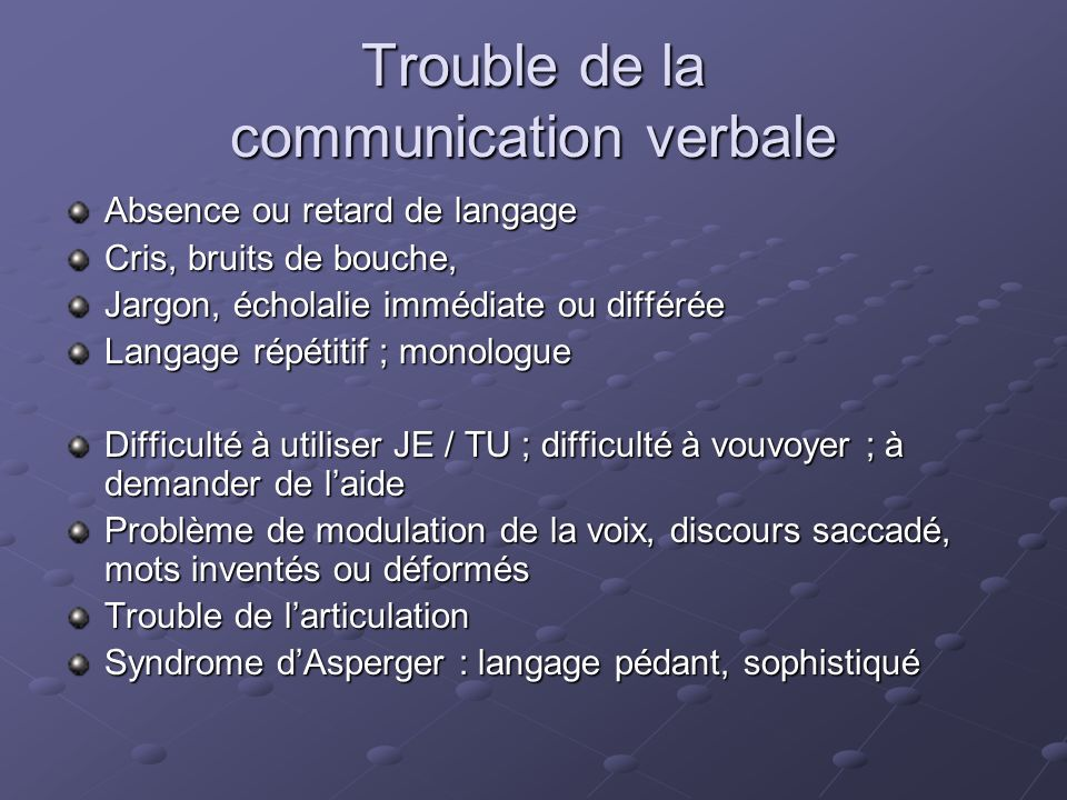 Trouble de la communication verbale