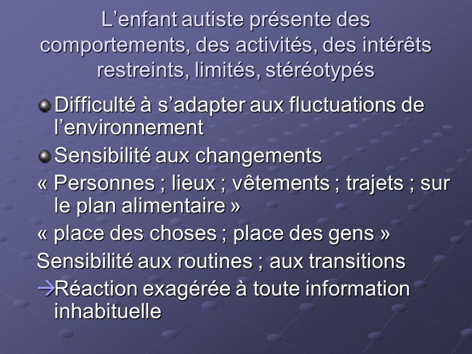 L'enfant autiste présente des comportements, des activités, des intérêts restreints, limités, stéréotypés