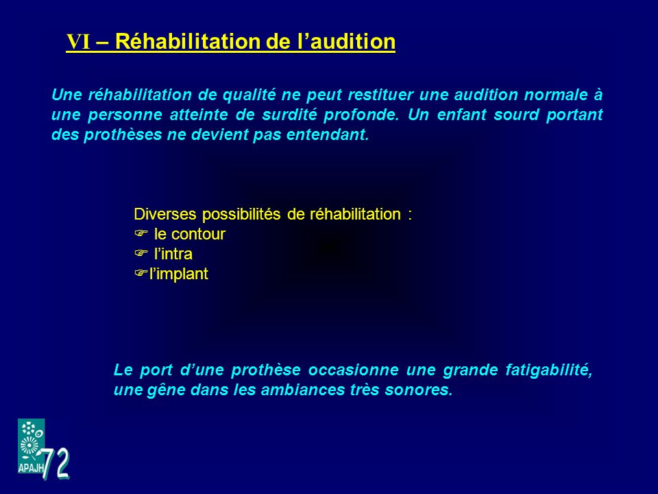 VI – Réhabilitation de l'audition