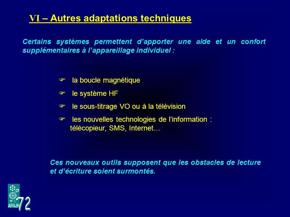 VI – Autres adaptations techniques
