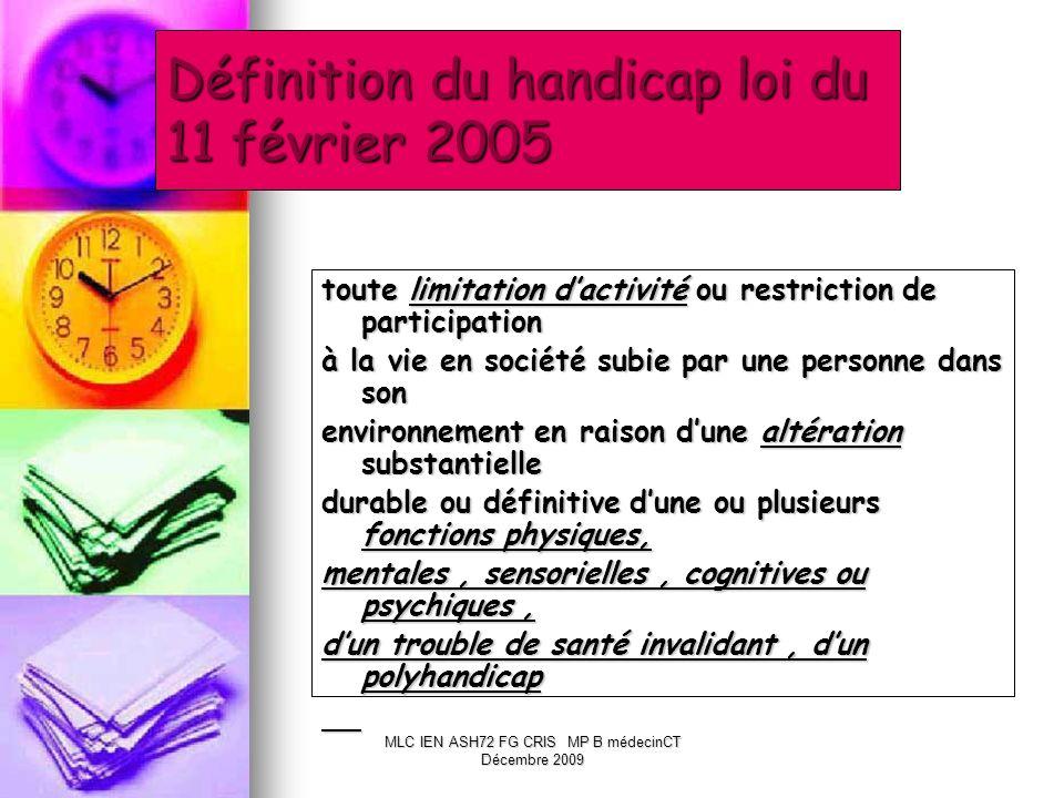 Définition du handicap loi du 11 février 2005