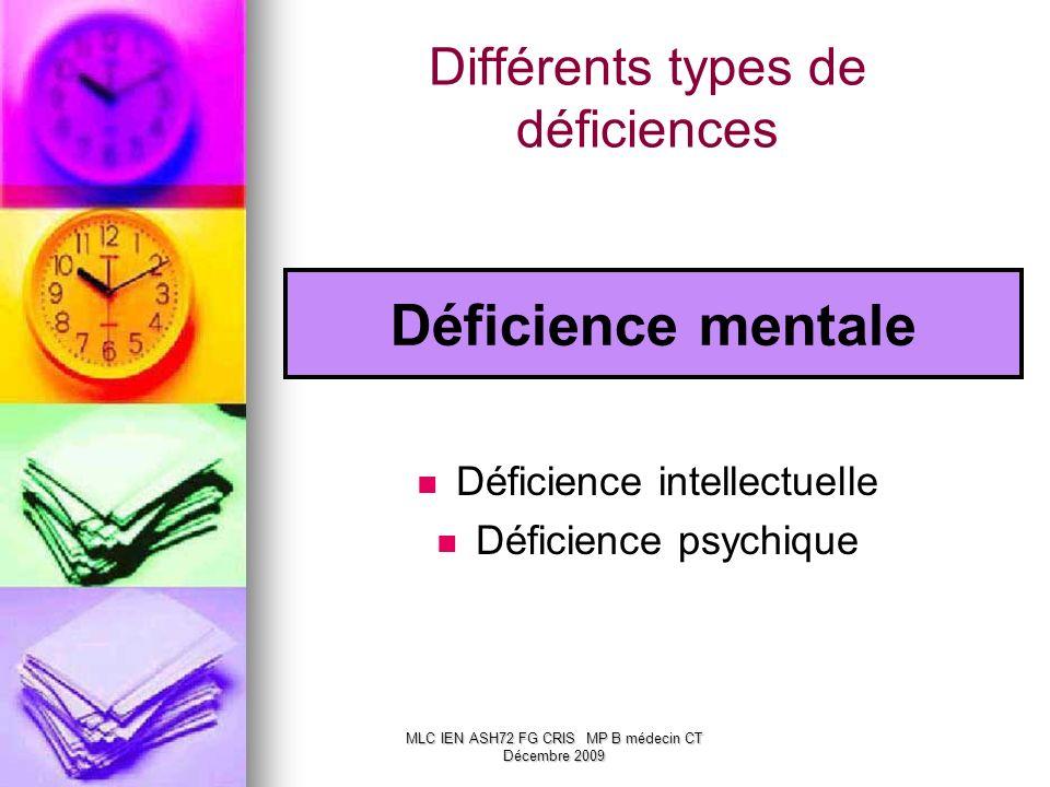Différents types de déficiences