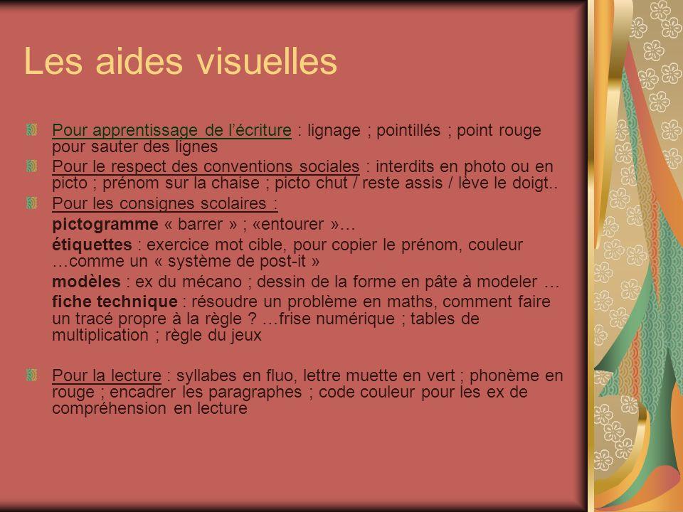 Les aides visuelles Pour apprentissage de l'écriture : lignage ; pointillés ; point rouge pour sauter des lignes.