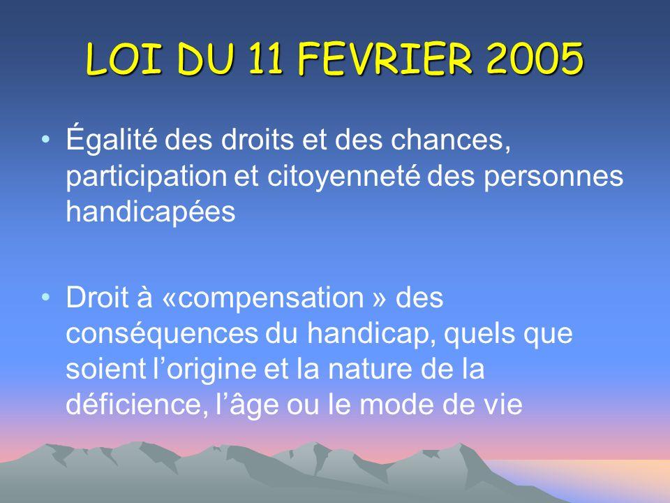 LOI DU 11 FEVRIER 2005 Égalité des droits et des chances, participation et citoyenneté des personnes handicapées.