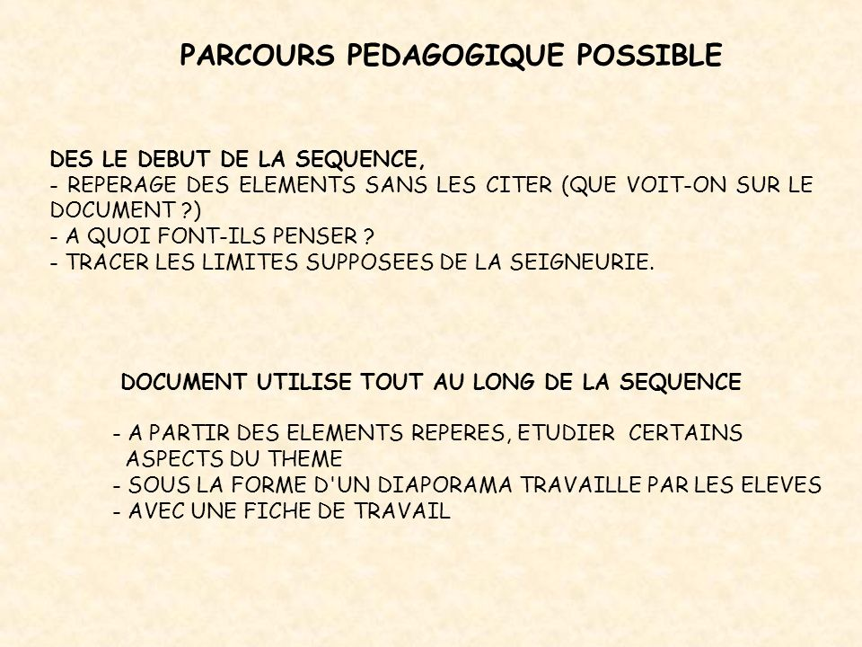 PARCOURS PEDAGOGIQUE POSSIBLE