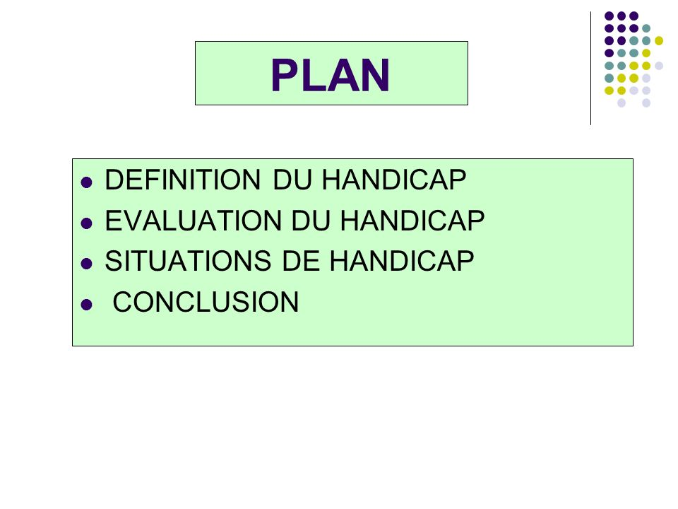 PLAN DEFINITION DU HANDICAP EVALUATION DU HANDICAP