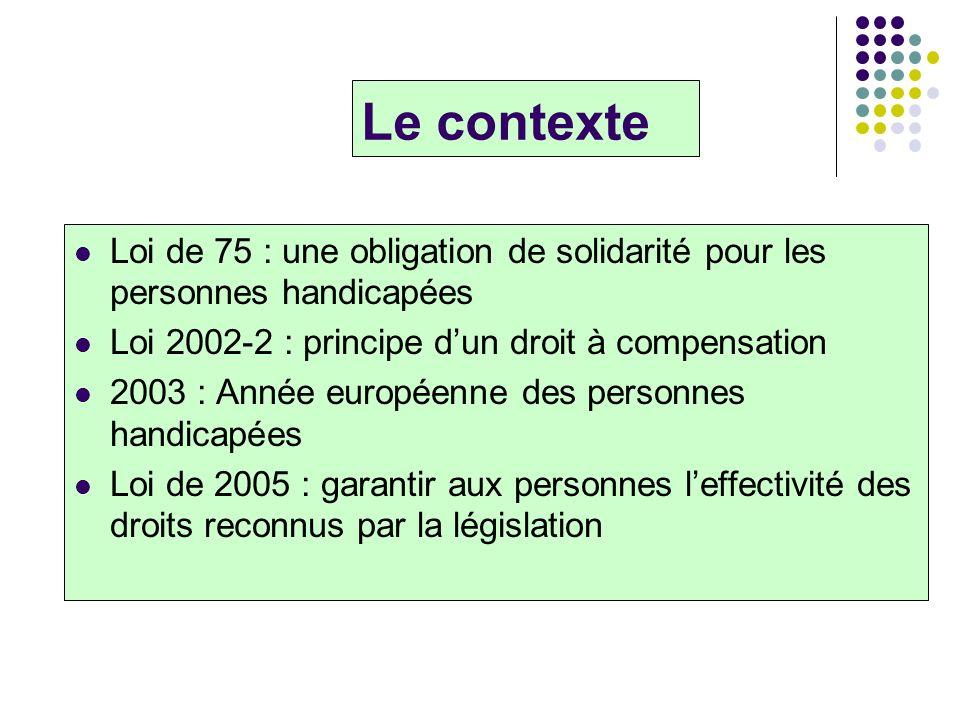 Le contexte Loi de 75 : une obligation de solidarité pour les personnes handicapées. Loi 2002-2 : principe d'un droit à compensation.