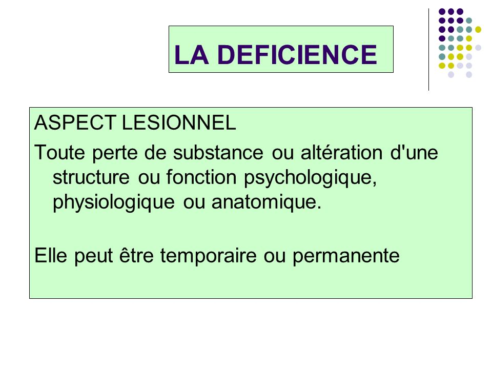 LA DEFICIENCE ASPECT LESIONNEL