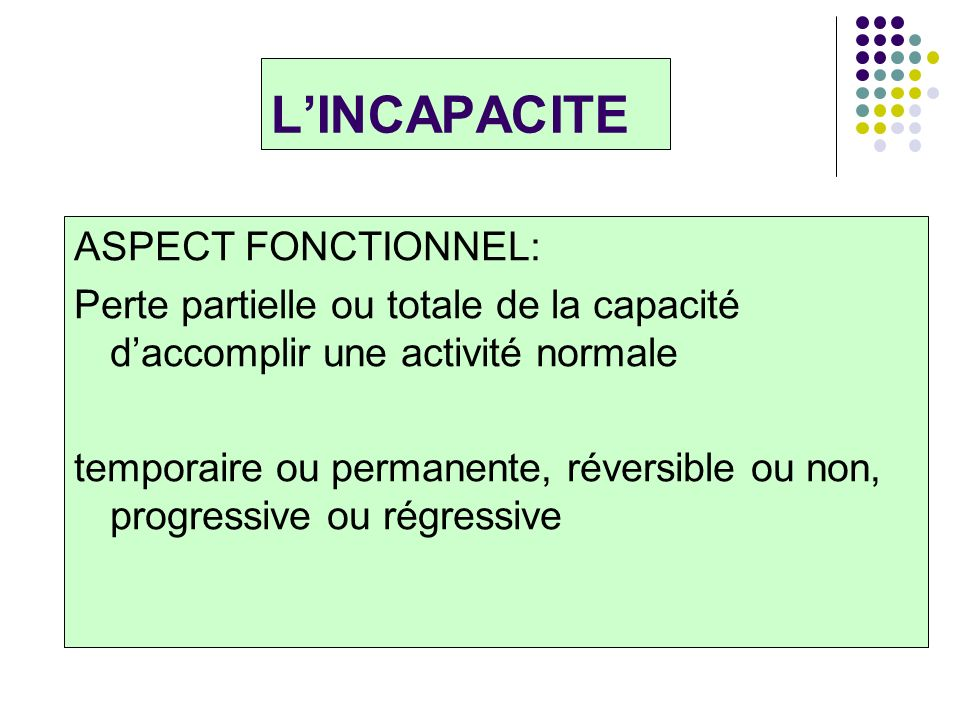 L'INCAPACITE ASPECT FONCTIONNEL: