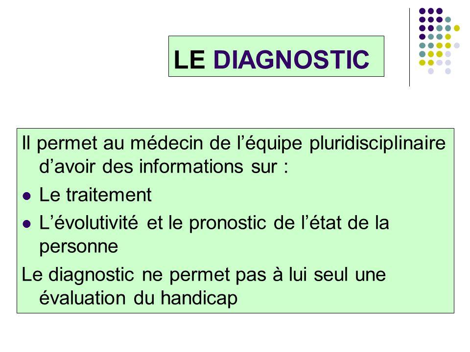 LE DIAGNOSTIC Il permet au médecin de l'équipe pluridisciplinaire d'avoir des informations sur : Le traitement.