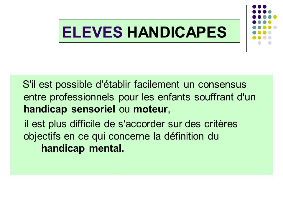 ELEVES HANDICAPES
