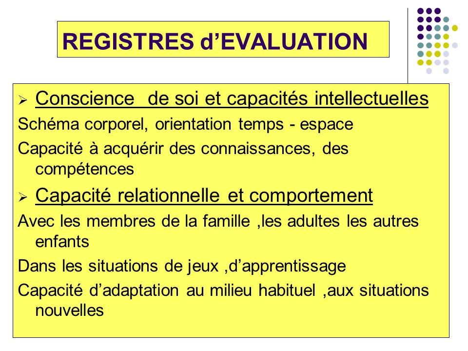 REGISTRES d'EVALUATION
