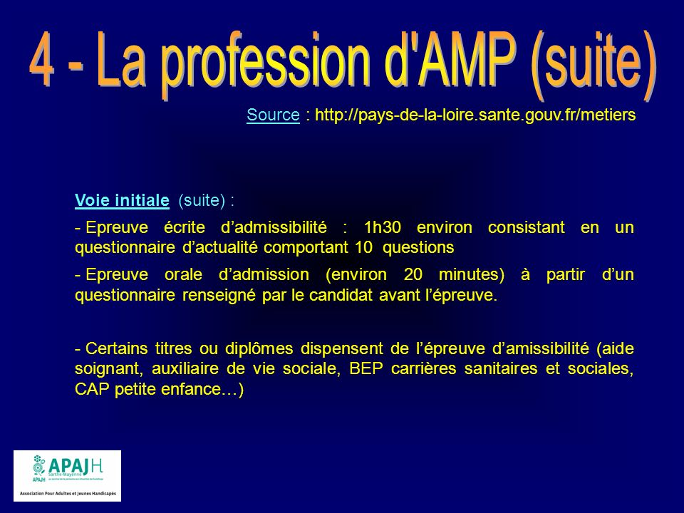 4 - La profession d AMP (suite)