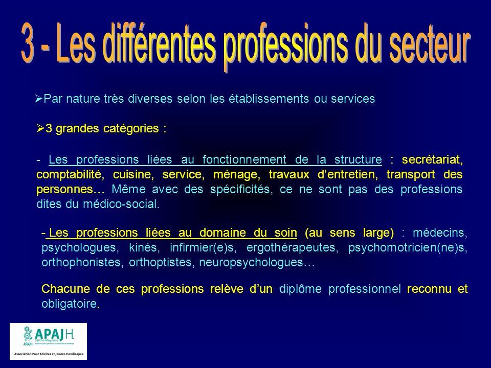 3 - Les différentes professions du secteur