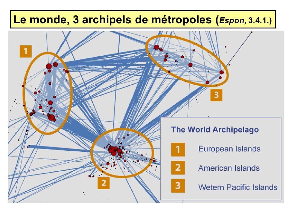 Le monde, 3 archipels de métropoles (Espon, 3.4.1.)