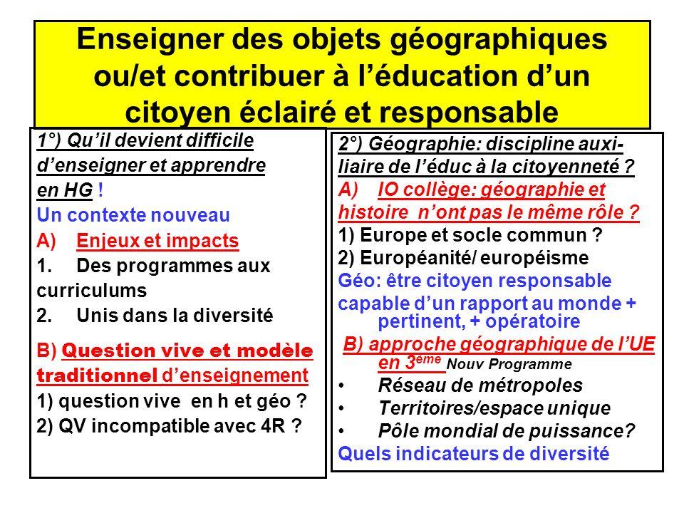 Enseigner des objets géographiques ou/et contribuer à l'éducation d'un citoyen éclairé et responsable