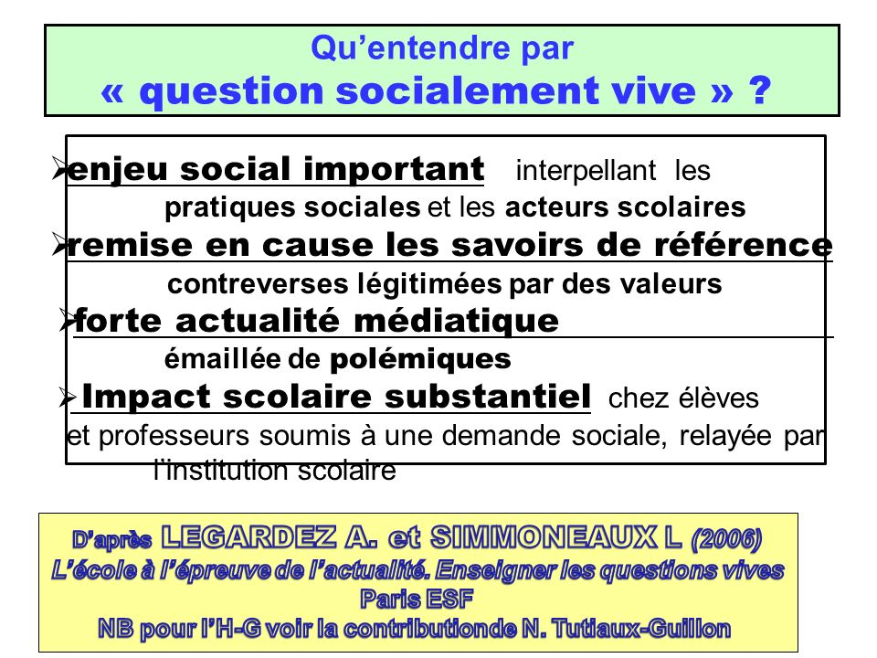 « question socialement vive »